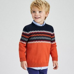 Пуловер Mayoral за момче в черно и оранж