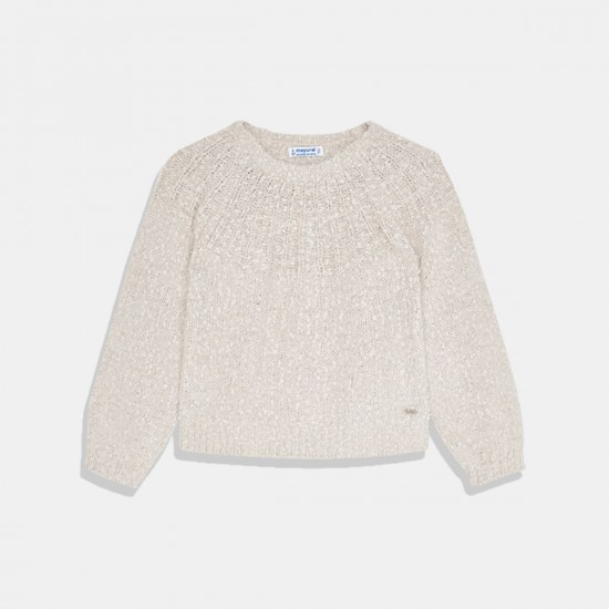 Пуловер Mayoral за момиче в цвят крем