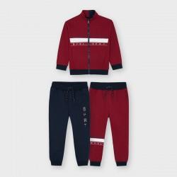Комплект Mayoral от три части / суитшърт и два броя сротни панталони в синьо и червено