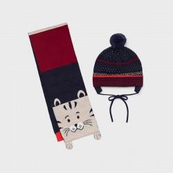 Комплект Mayoral шапка и шал в синьо и червено