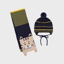 Комплект Mayoral шапка и шал в синьо/жълто и зелено