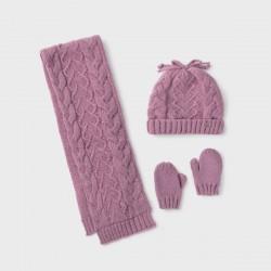 Сет Mayoral шапка, шал и ръкавици в лилав цвят