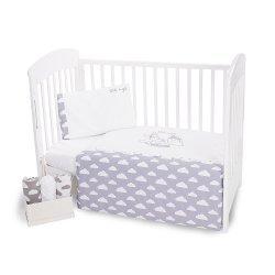 Бебешки спален комплект 5 части с бродерия Little Angel Clouds