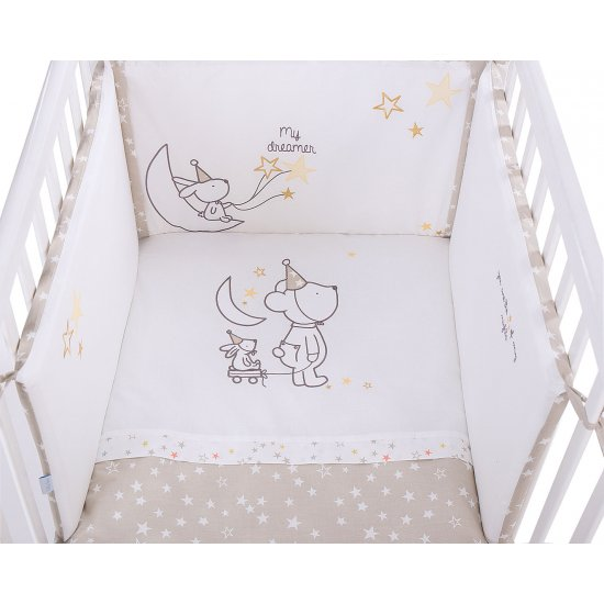 Бебешки спален комплект 2 части EU style 60/120 бродерия Little Dreamer Stars