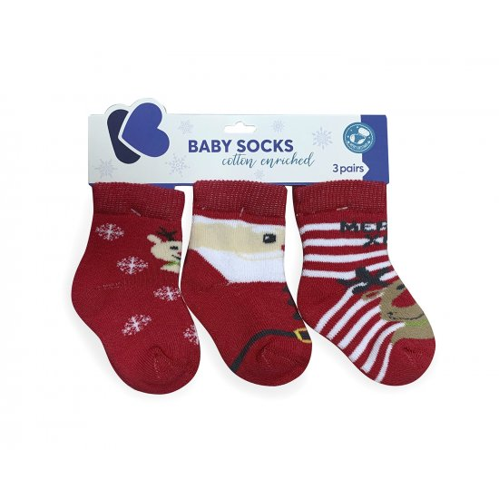 Бебешки памучни термо чорапи MERRY XMAS 0-6 месеца
