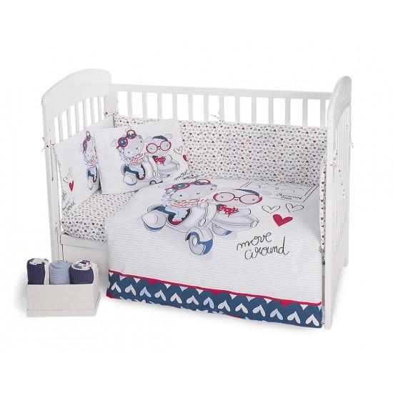 Бебешки спален комплект 6 части 60/120 Love Rome Blue