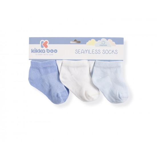 Бебешки памучни чорапи терлички SOLID BLUE 6-12 месеца