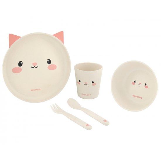 Сет за хранене бамбук Cat Pink