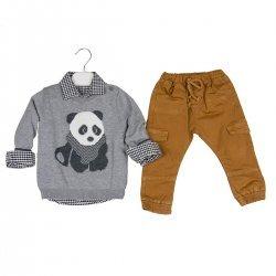 Комплект от блузка с картинка, риза и панталон - Panda