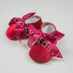 """Бебешки пантофки - буйки """"Червено кадифе с панделка"""""""