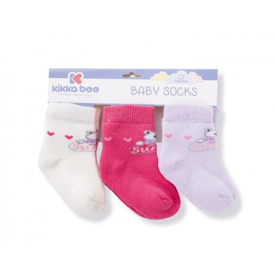 Бебешки памучни термо чорапи FROGS PINK 6-12 месеца