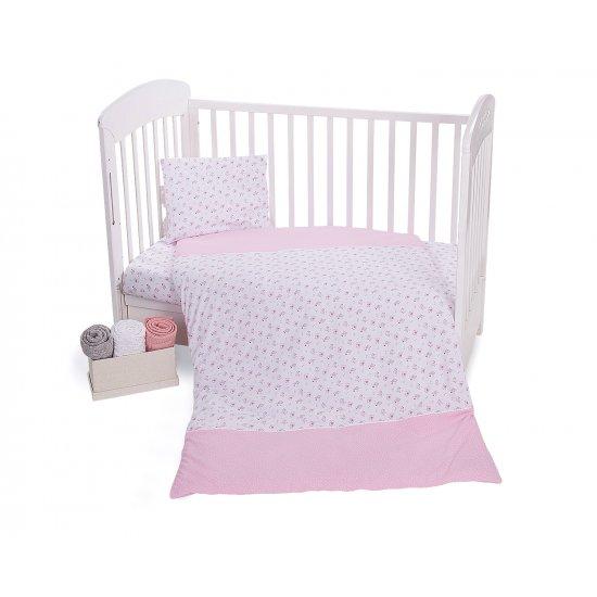 Бебешки спален комплект трико 4 части Pink Flowers 60/120