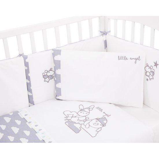 Бебешки спален комплект 6 части 70/140 с бродерия Little Angel Clouds