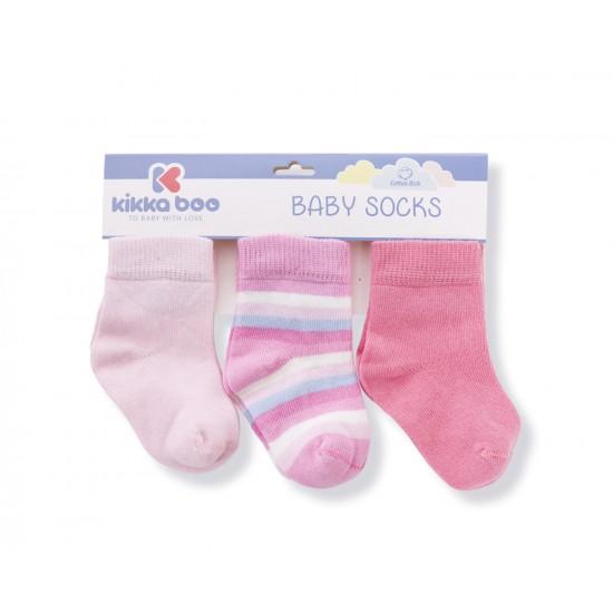 Бебешки памучни чорапи STRIPES PINK 0-6 месеца
