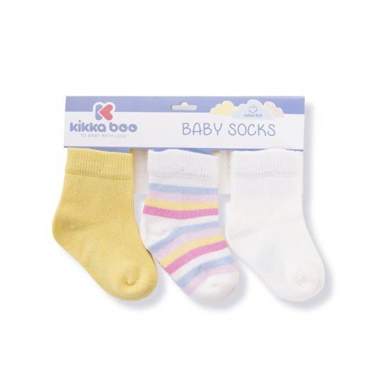 Бебешки памучни чорапи STRIPES YELLOW 0-6 месеца
