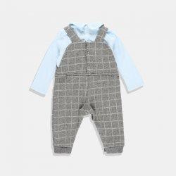 Бебешки гащеризон за момче в сиво и синьо
