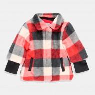 Палто в каре от червено-черно и бяло