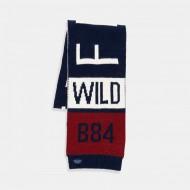 Boboli Топъл зимен шал синьо/червено и бяло