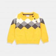 Boboli Пуловер в патешко жълто с ромбове в сиво