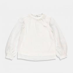 Boboli блуза в бяло с широк ръкав
