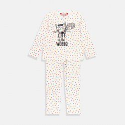 Пижама за момиче бяла с разноцветни точици