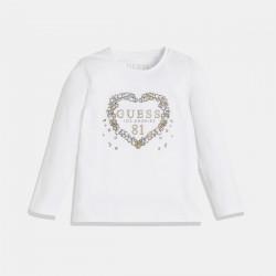 Бяла блуза GUESS със сърце от диаманти