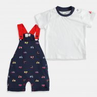 Комплект i DO за бебе момче в синьо и бяло