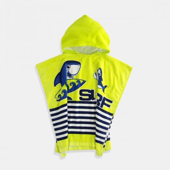 Детска хавлия-халат с качулка в морски принт