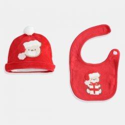 Коледен сет от шапка и бандан в червено