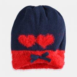 Синя шапка с червени сърца iDO