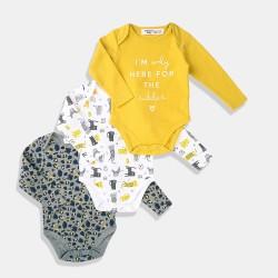 Minoti Комплект от три броя бодита /жълто, бяло и сиво/