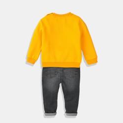 Minoti сет от дънки и жълт суитшърт за момче