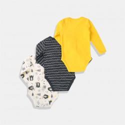 Minoti Комплект от три броя бодита /антрацит, бял и жълт/