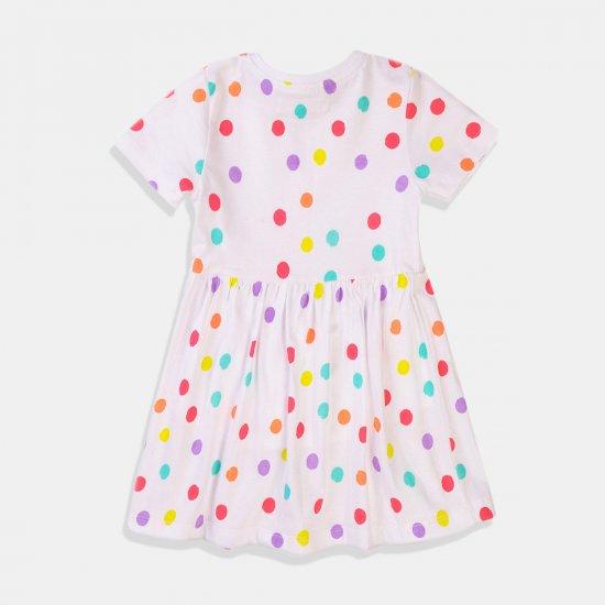 Бебешка рокля в бяло с разноцветни точки