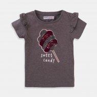 Графитено сива тениска за момиче Sweet Candy