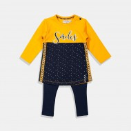 Dirkje комплект блуза и клин в синьо и жълто