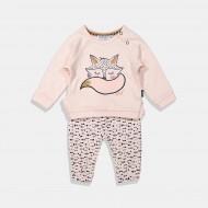 Dirkje комплект блуза и панталон в розово с лисица