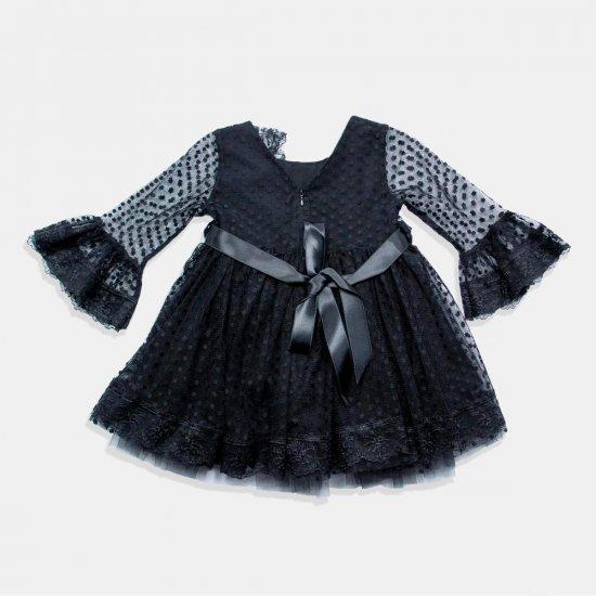 Детска официална рокля с тюл и коланче - черен цвят