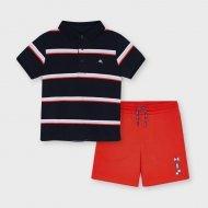 Комплект тениска панталон в синьо и червено