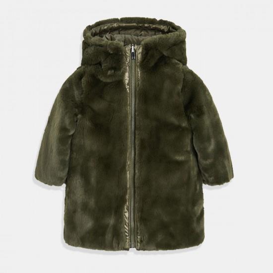 Mayoral  Двулицево палто с еко косъм за момиче