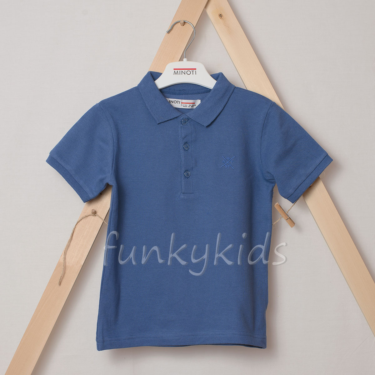 Детска едноцветна риза за момчета 3-13г. Minoti Blue