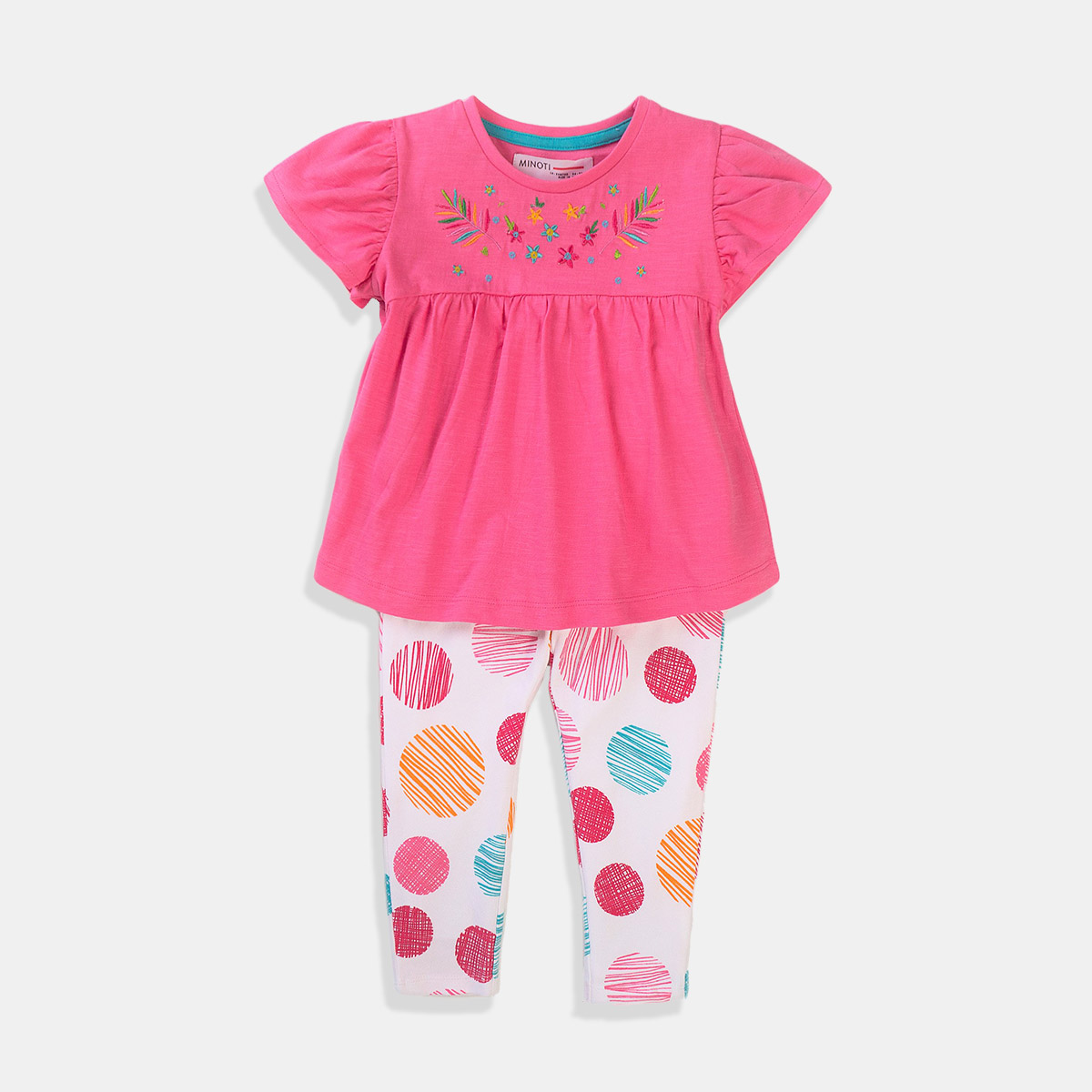 Розово-бял комплект тениска и клин за момиче Minoti